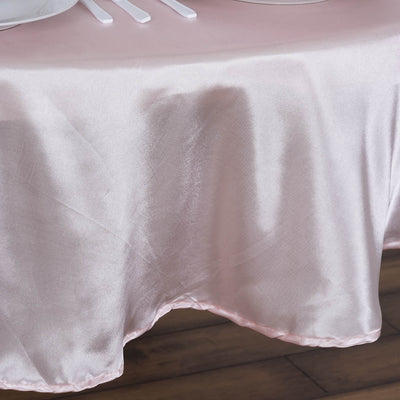 "90"" Satin Round Tablecloth Rose Gold 