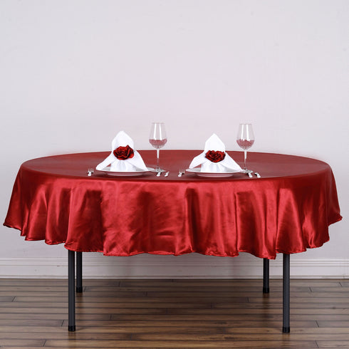 "90"" Wine Satin Round Tablecloth"