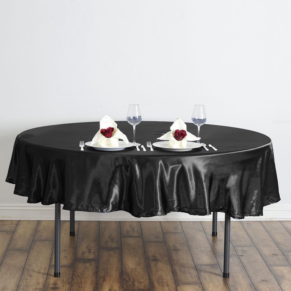 "90"" BLACK Wholesale SATIN Round Tablecloth For Wedding Banquet Restaurant"