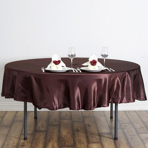 "90"" Chocolate Satin Round Tablecloth"