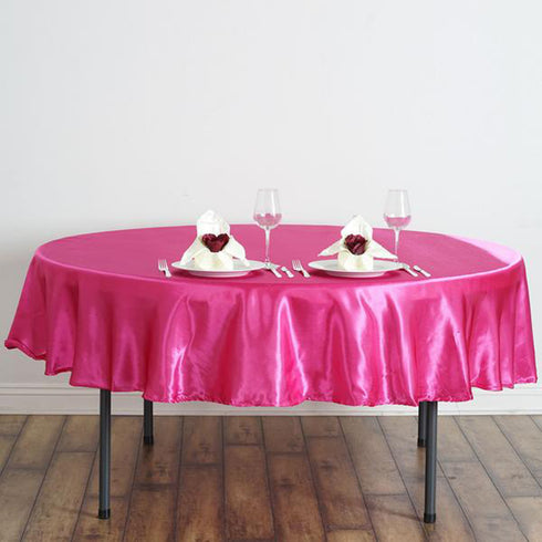 "90"" Fuchsia Satin Round Tablecloth"