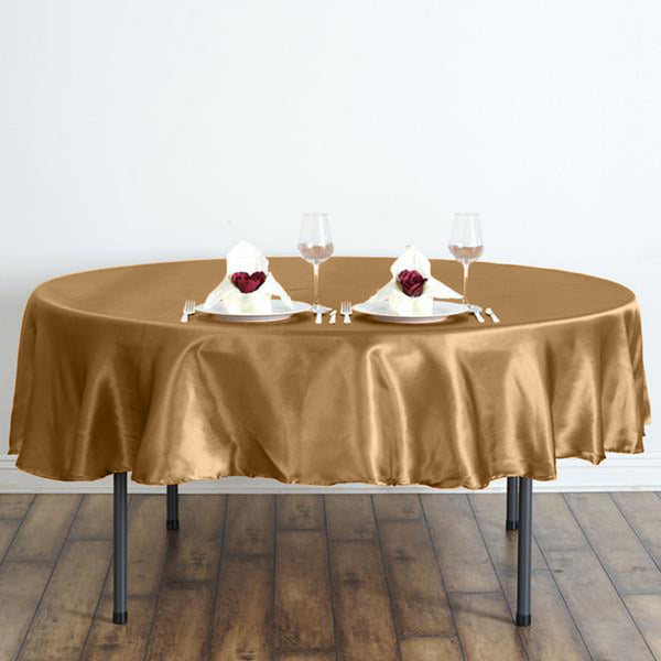 90 Quot Gold Satin Round Tablecloth Efavormart