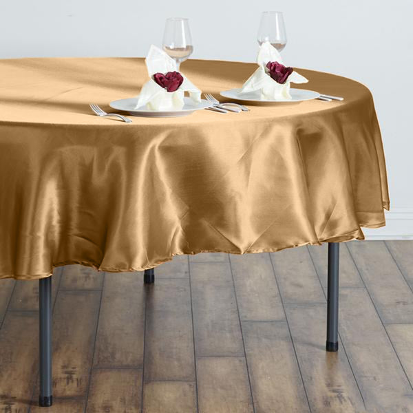 "90"" Gold Satin Round Tablecloth"