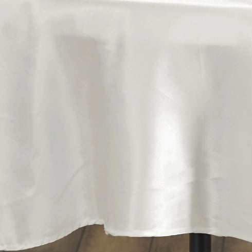 "90"" IVORY Wholesale SATIN Round Tablecloth For Wedding Banquet Restaurant"