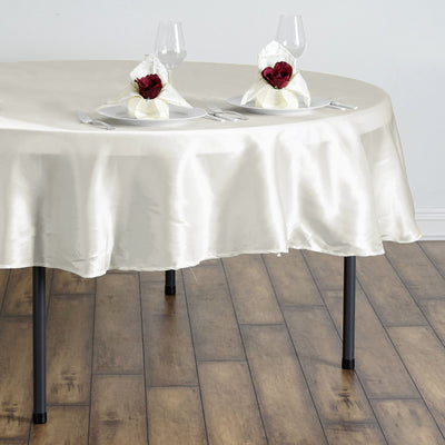 "90"" Ivory Satin Round Tablecloth"