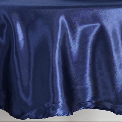 "90"" NAVY BLUE Wholesale SATIN Round Tablecloth For Wedding Banquet Restaurant"
