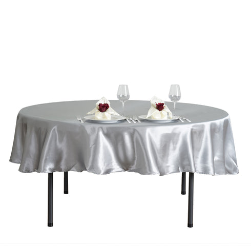 "90"" Silver Satin Round Tablecloth"