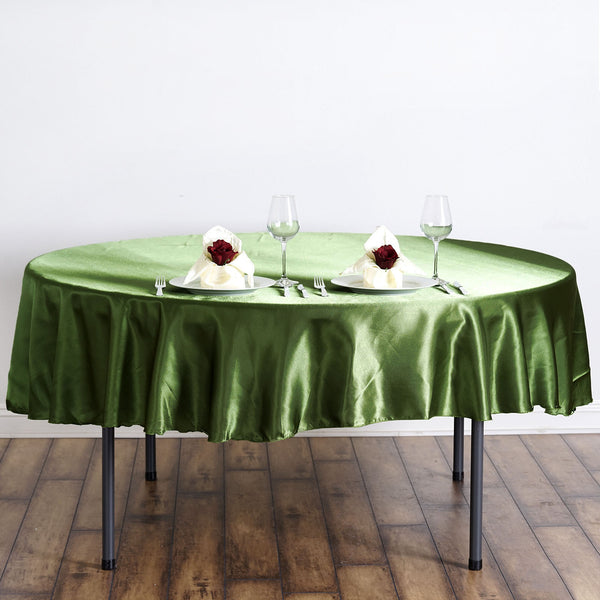 "90"" Moss Green Satin Round Tablecloth"