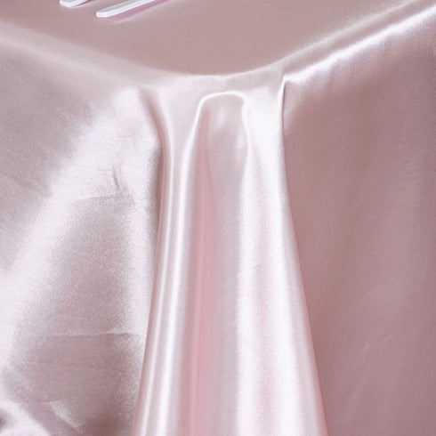 "60x102""  Satin Rectangular Tablecloth- Rose Gold 