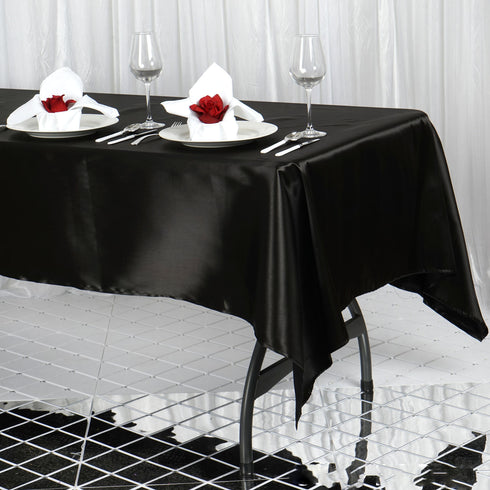 "60x102"" Black Satin Rectangular Tablecloth"