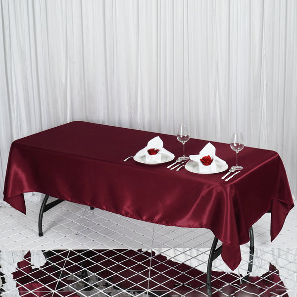 "60""x102"" Burgundy Satin Rectangular Tablecloth"