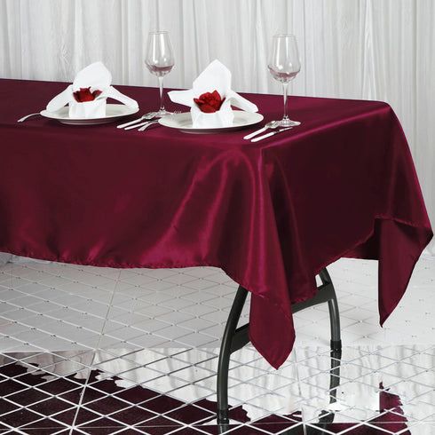 "60x102"" Burgundy Satin Rectangular Tablecloth"