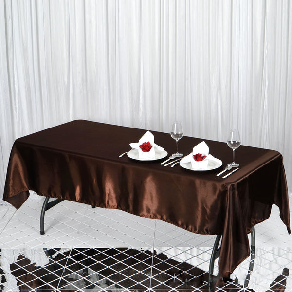 "60""x102"" Chocolate Satin Rectangular Tablecloth"