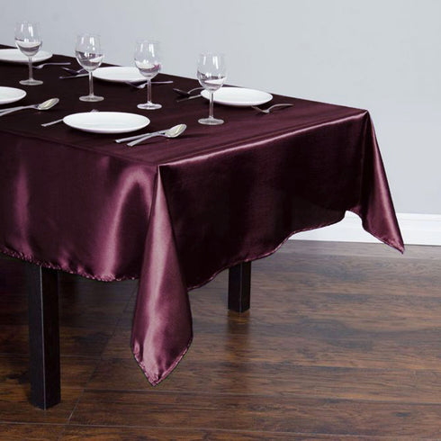 "60x102"" Eggplant Satin Rectangular Tablecloth"
