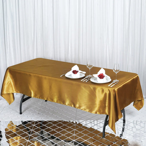 "60x102"" Gold Satin Rectangular Tablecloth"