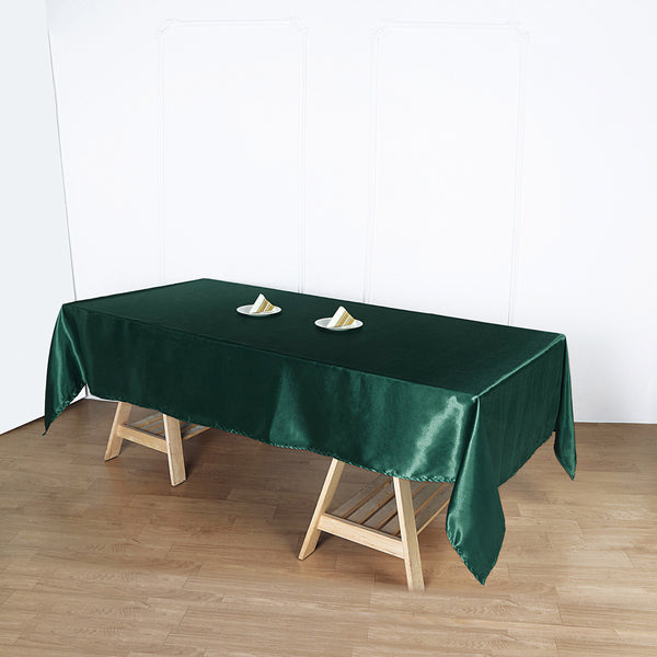 "60""x102"" Hunter Emerald Green Satin Rectangular Tablecloth"