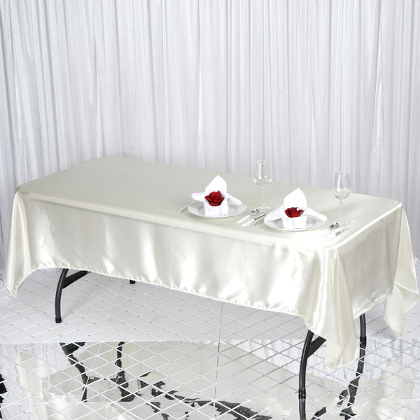 "60""x102"" Ivory Satin Rectangular Tablecloth"