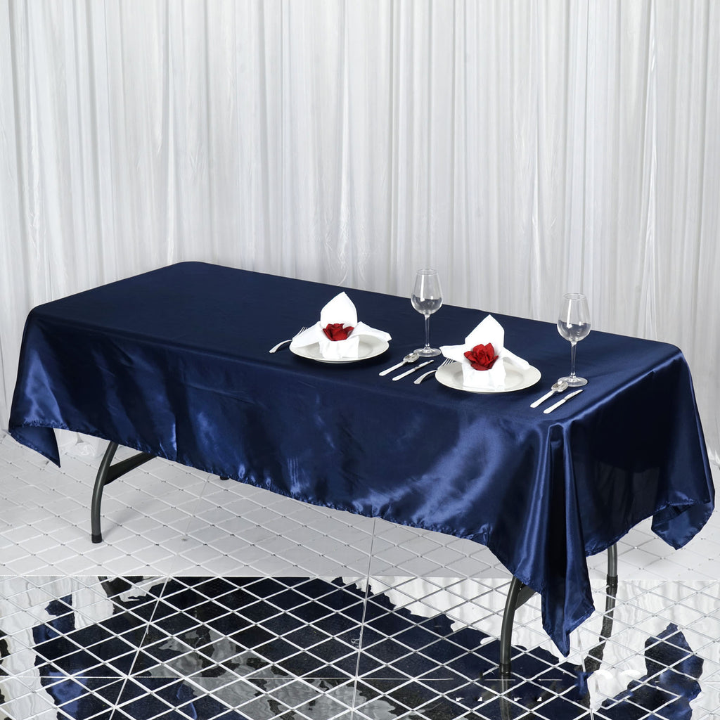 "60x102"" NAVY Wholesale SATIN Banquet Linen Wedding Party Restaurant Tablecloth"