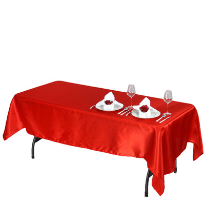 "60x102"" RED Wholesale SATIN Banquet Linen Wedding Party Restaurant Tablecloth"