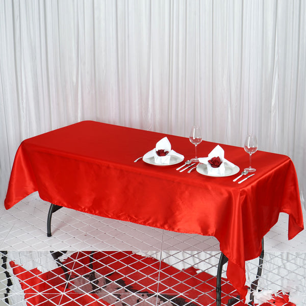 "60""x102"" Red Satin Rectangular Tablecloth"