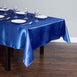 "60x102"" Royal Blue Satin Rectangular Tablecloth"