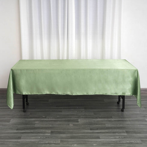 "60x102"" Sage Green Satin Rectangular Tablecloth"