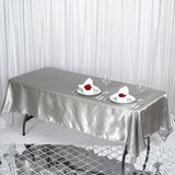 "60x102"" SILVER Wholesale SATIN Banquet Linen Wedding Party Restaurant Tablecloth"