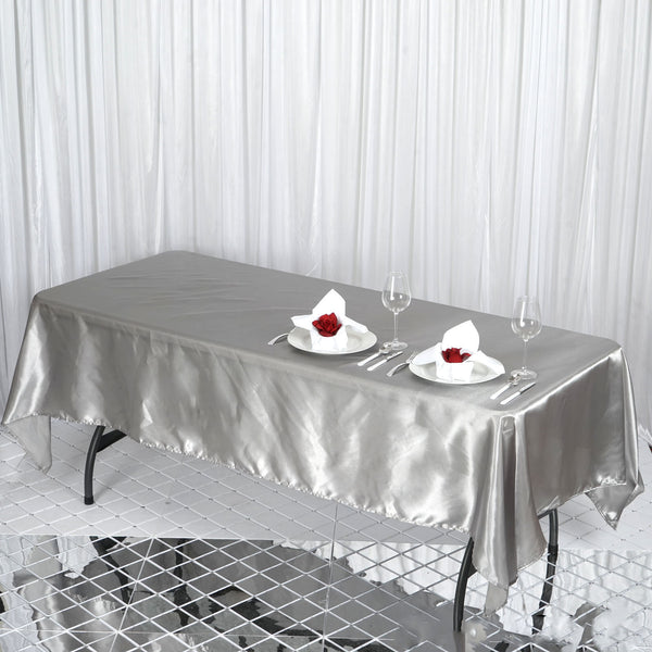 "60""x102"" Silver Satin Rectangular Tablecloth"
