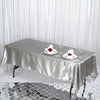 60x102 Silver Satin Rectangular Tablecloth