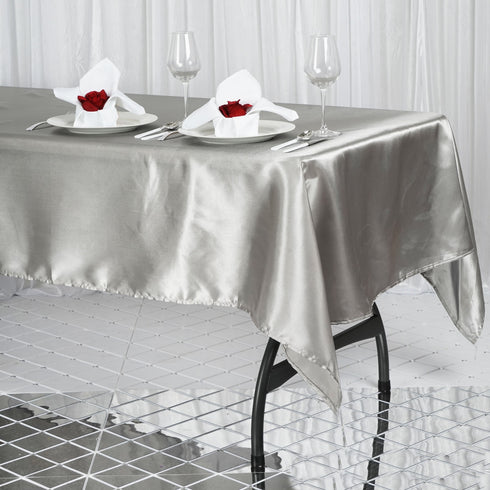 "60x102"" Silver Satin Rectangular Tablecloth"
