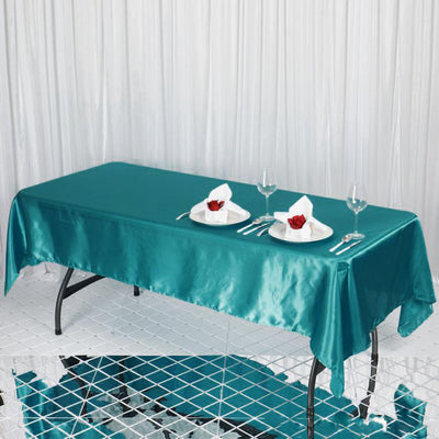 "60x102"" Turquoise Satin Rectangular Tablecloth"
