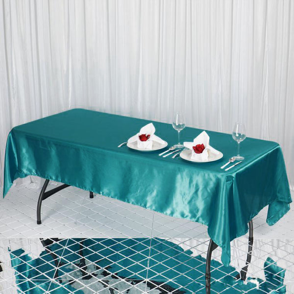 "60""x102"" Turquoise Satin Rectangular Tablecloth"