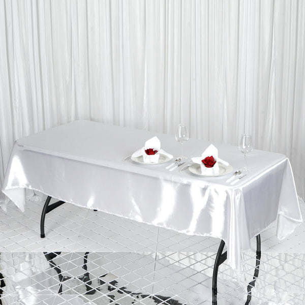"60""x102"" White Satin Rectangular Tablecloth"