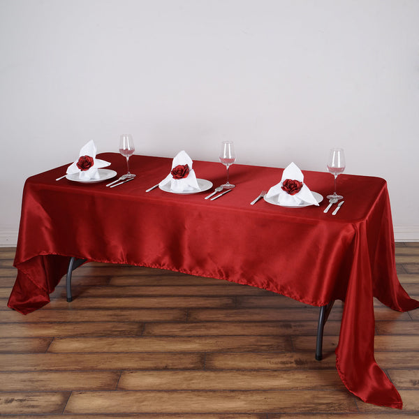 "60""x126"" Wine Satin Rectangular Tablecloth"