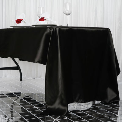 "60x126"" Black Satin Rectangular Tablecloth"
