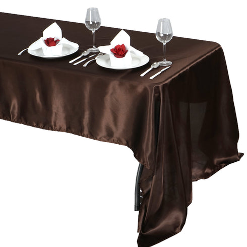 "60x126"" Chocolate Satin Rectangular Tablecloth"