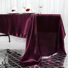 "60x126"" Eggplant Satin Rectangular Tablecloth"