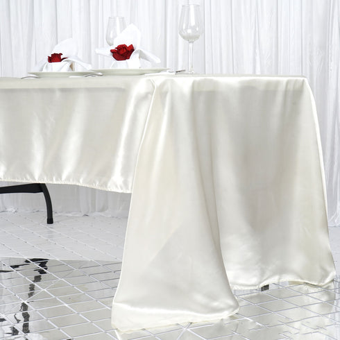 "60x126"" IVORY Wholesale SATIN Banquet Linen Wedding Party Restaurant Tablecloth"