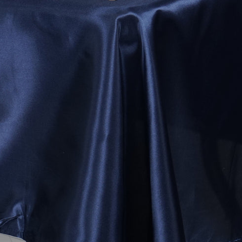 "60x126"" Navy Blue Satin Rectangular Tablecloth"