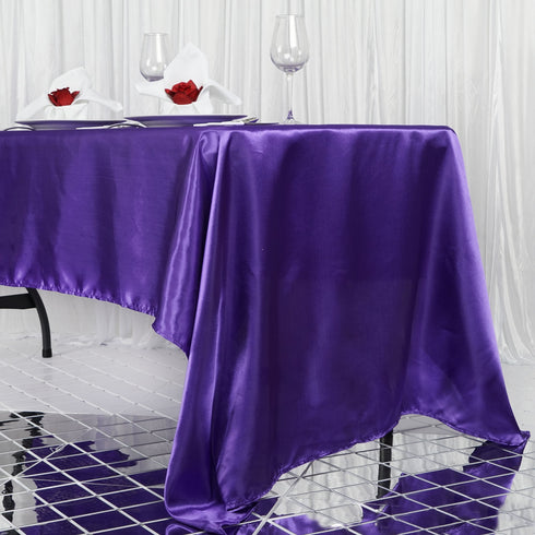 "60x126"" Purple Satin Rectangular Tablecloth"