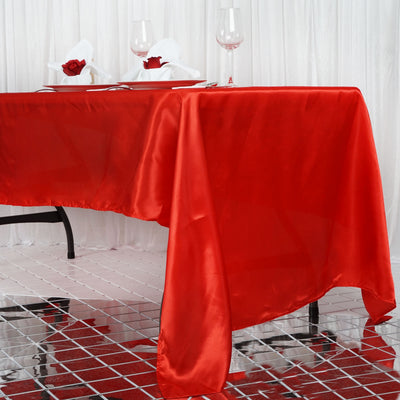 "60x126"" Red Satin Rectangular Tablecloth"