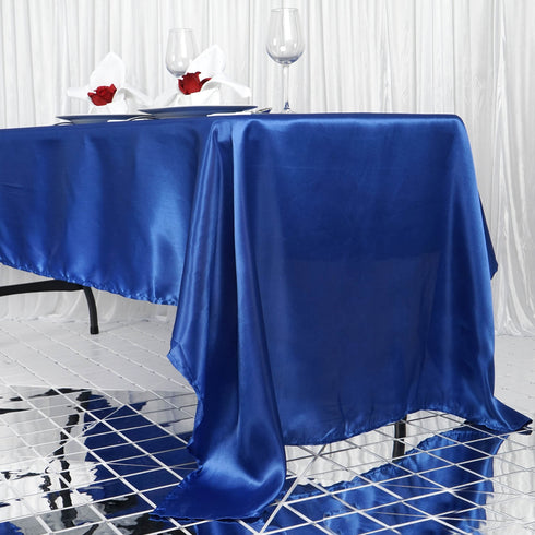 "60x126"" Royal Blue Satin Rectangular Tablecloth"