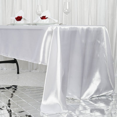 "60x126"" White Satin Rectangular Tablecloth"