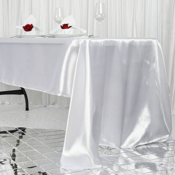 "60""x126"" White Satin Rectangular Tablecloth"