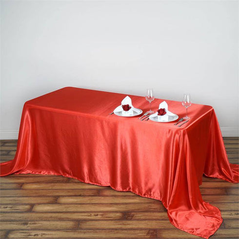 "90x132"" CORAL Wholesale SATIN Banquet Linen Wedding Party Restaurant Tablecloth"