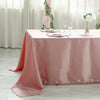 "60x102"" Dusty Rose Satin Rectangular Tablecloth"