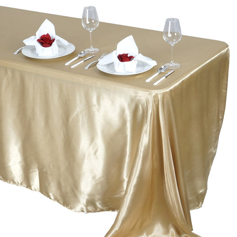 "90x132"" CHAMPAGNE Wholesale SATIN Banquet Linen Wedding Party Restaurant Tablecloth"