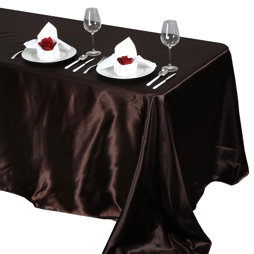 "90x132"" CHOCOLATE Wholesale SATIN Banquet Linen Wedding Party Restaurant Tablecloth"