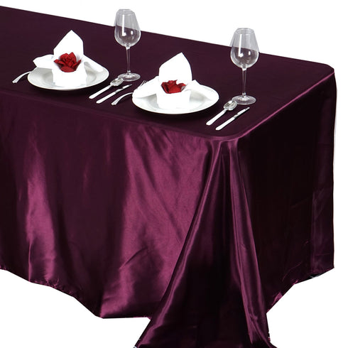 "90x132"" EGGPLANT Wholesale SATIN Banquet Linen Wedding Party Restaurant Tablecloth"