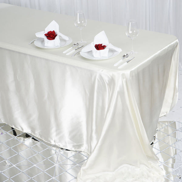 "90""x132"" Ivory Satin Rectangular Tablecloth"